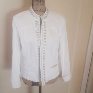 Chico's Platinum White Denim Jacket